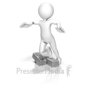 ID# 9649 - Stick Figure Trip Cinder Blocks - Presentation Clipart