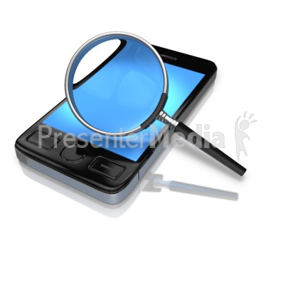 Magnify Glass Searching Phone PowerPoint Clip Art