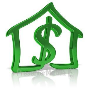 ID# 9658 - House Dollar Outline - Presentation Clipart