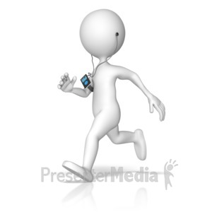 ID# 9746 - Exercising Listening To Media Device - Presentation Clipart