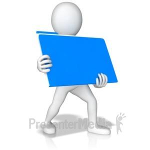 ID# 9748 - Stick Figure Holding Folder - Presentation Clipart