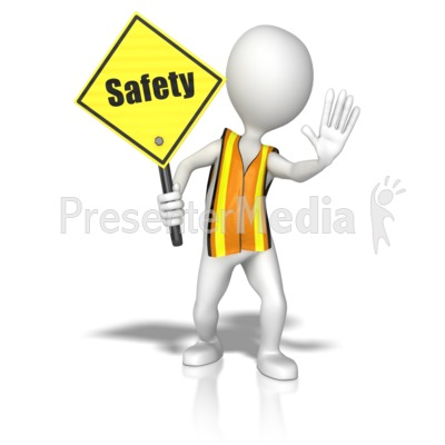 Stick Figure In A Safety Vest Holding PowerPoint Clip Art