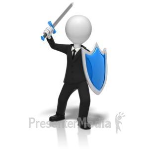 ID# 9766 - Businessman Sword Shield - Presentation Clipart