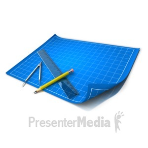 ID# 9779 - Blue Print Grid Tools - Presentation Clipart