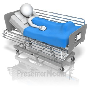 ID# 9830 - Stick Figure Hospital Bed - Presentation Clipart