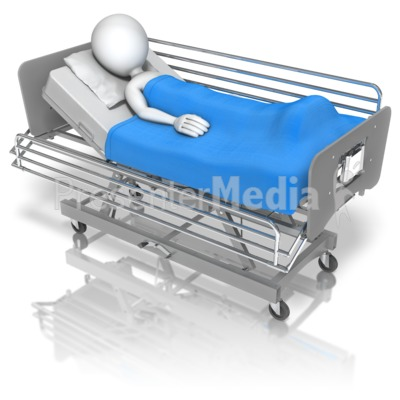 Stick Figure Hospital Bed PowerPoint Clip Art
