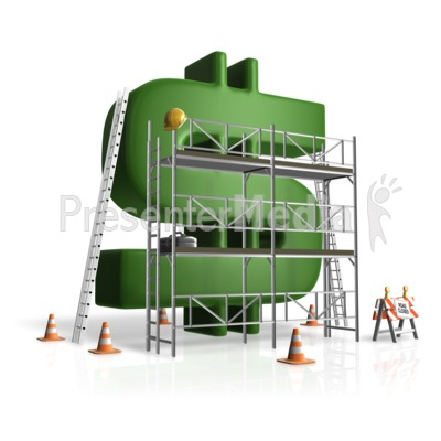 Building money scaffolding presentation clipart great for Money to build a house