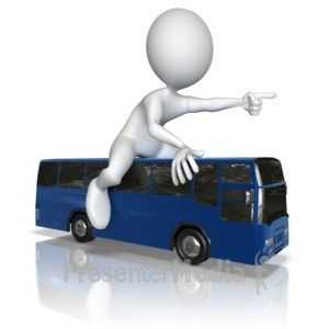 ID# 9856 - Figure Bus Travel Journey - Presentation Clipart