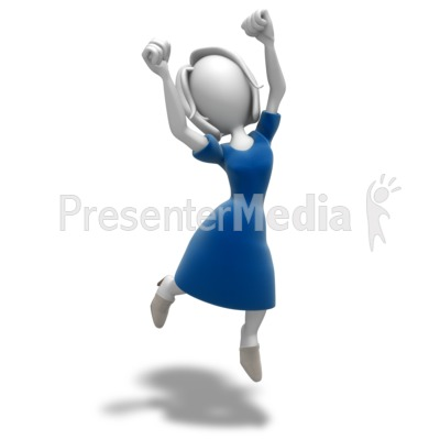 Woman Jumping Celebration PowerPoint Clip Art