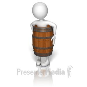 ID# 9915 - Wearing A Wooden Barrel - Presentation Clipart