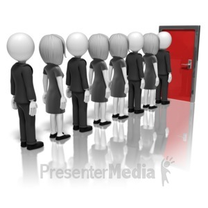 ID# 9932 - Business People Line-Up For Door - Presentation Clipart