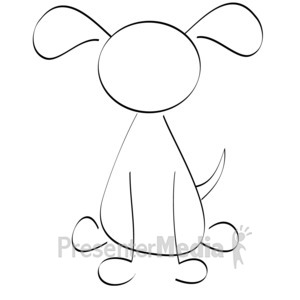 ID# 9946 - Line Drawn Dog - Presentation Clipart