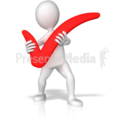 Stick Figure Holding Check Mark PowerPoint Clip Art