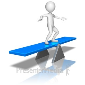 ID# 9999 - Stick Figure On Balance Board - Presentation Clipart
