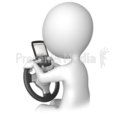 Texting Behind The Wheel PowerPoint Clip Art