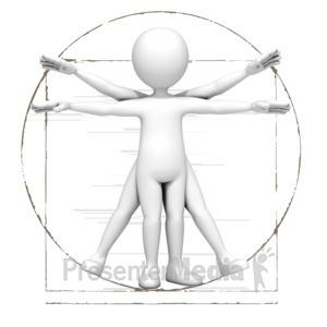 ID# 10013 - Vitruvian Stick Figure - Presentation Clipart