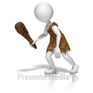 ID# 10024 - Caveman Stick Figure - Presentation Clipart