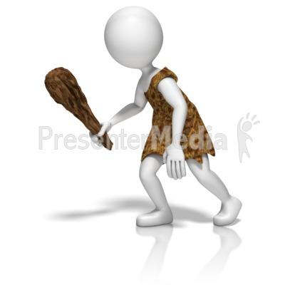 Caveman Stick Figure PowerPoint Clip Art