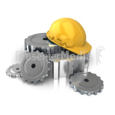 Construction Helmet Gears PowerPoint Clip Art