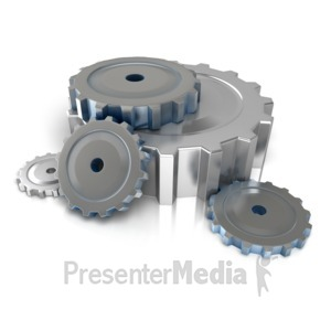 ID# 10037 - Industrial Gears On Floor - Presentation Clipart