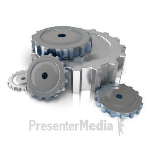 ID# 10037 - Industrial Gears On Floor - Presentation Clipart