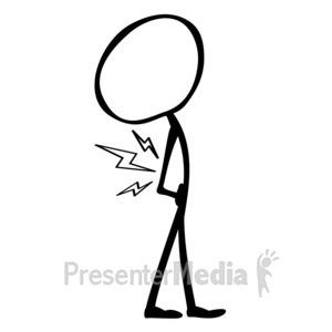ID# 10065 - Line Figure Back Pain - Presentation Clipart