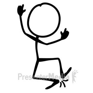 ID# 10067 - Line Figure Jump Joy - Presentation Clipart