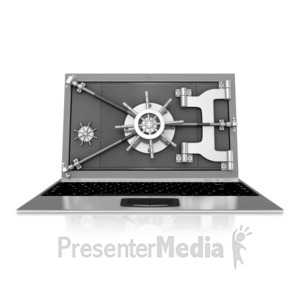 ID# 10091 - Vault Secured Laptop - Presentation Clipart
