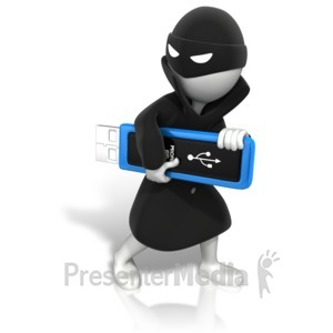 ID# 10092 - Thief Stealing Data - Presentation Clipart