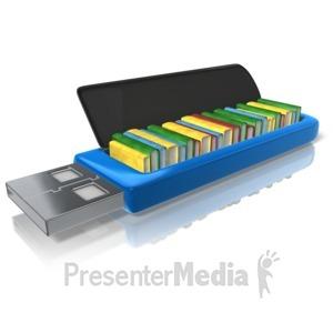 ID# 10117 - Flash Drive Books - Presentation Clipart