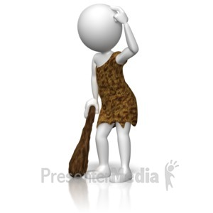 ID# 10128 - Caveman Figure Thinking - Presentation Clipart