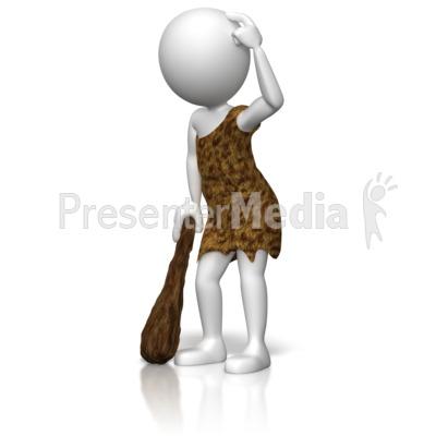 Caveman Figure Thinking PowerPoint Clip Art