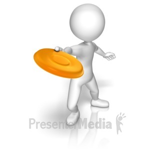 ID# 10129 - Stick Figure With Frisbee - Presentation Clipart