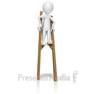 ID# 10147 - Stick Figure On Stilts - Presentation Clipart