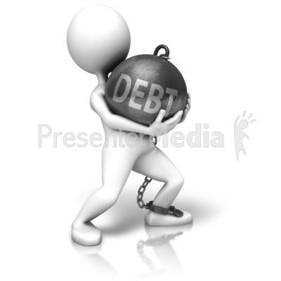 Walking Debt Chain Ball PowerPoint Clip Art