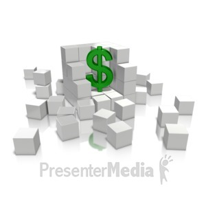 ID# 10154 - Money In Cube - Presentation Clipart