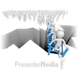 ID# 10174 - Stick Figures Bottleneck On Bridge - Presentation Clipart