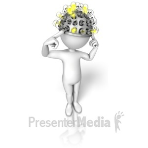 ID# 10184 - Stick Figure Thinking Cap - Presentation Clipart
