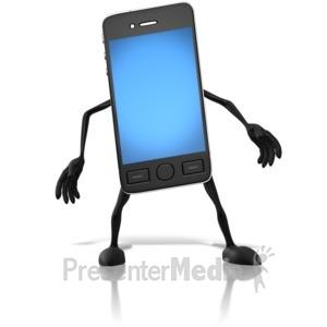 ID# 10196 - Smart Phone Character - Presentation Clipart