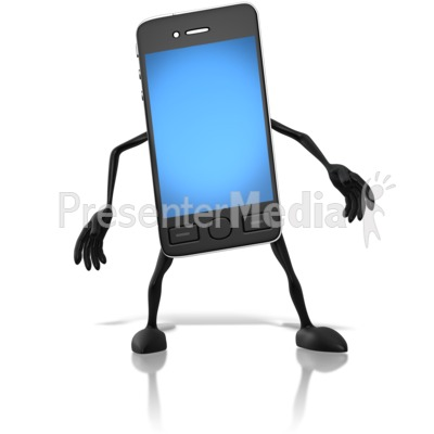 Smart Phone Character PowerPoint Clip Art