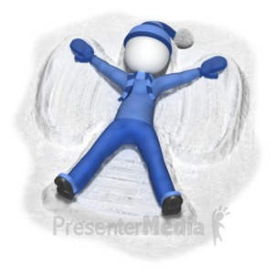 ID# 10208 - Stick Figure Making Snow Angel - Presentation Clipart