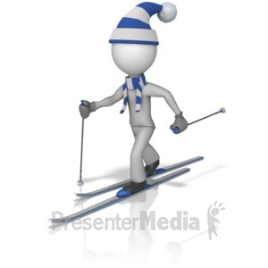 ID# 10225 - Cross Country Skier Figure - Presentation Clipart