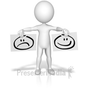 ID# 10227 - Figure Holding Happy Sad Signs - Presentation Clipart