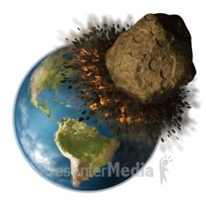 ID# 10238 - Earth Hit By Asteroid - Presentation Clipart