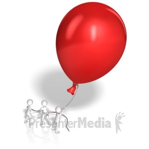 ID# 10253 - Stick Figures Hold Giant Balloon - Presentation Clipart