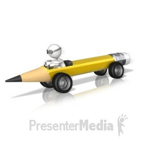 ID# 10266 - Stick Figure Driving Pencil - Presentation Clipart