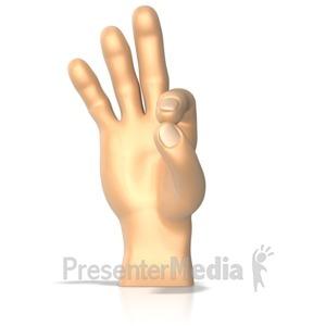 ID# 10272 - Sign Language Letter F - Presentation Clipart
