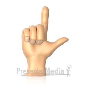 ID# 10279 - Sign Language Letter L - Presentation Clipart
