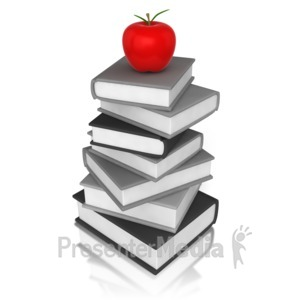 ID# 10304 - Apple On Book - Presentation Clipart