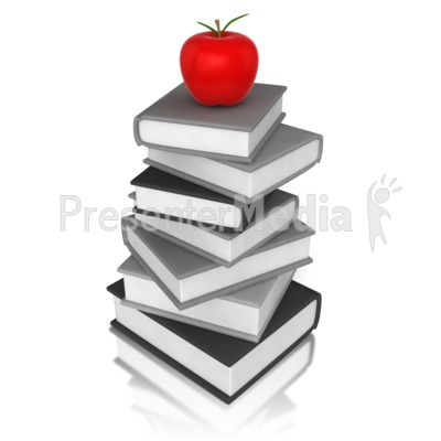 Apple On Book PowerPoint Clip Art